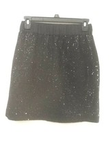 Ann Taylor Loft Dressy Black Sequin Skirt Size XSP Wool Rayon Elastic Waist - $16.95