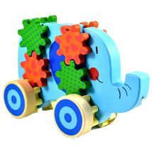 Applesauce Elephant Baby Wooden Pull Toy w Gears for Children Ages 18+ Month image 5