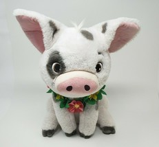 "14"" DISNEY STORE MOANA WHITE PIG PUA W/ HAWAIIAN LEI STUFFED ANIMAL PLUS... - $32.73"