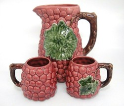 Portugal Pottery Raspberry Pitcher and 2 Mugs Jay Willfred Andrea by Sad... - £22.91 GBP
