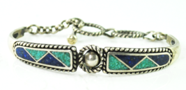 Sterling Pollack Relios Cuff Turquoise Corundum Chip Inlay Toggle Bracel... - $69.29