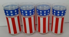4 Libbey American Flag Drinking Glasses Tumblers Red White Blue STARS & ... - $29.65