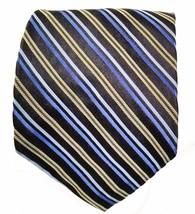 Express Design Studio Silk Tie Black Blue Gold Stripe - $9.79