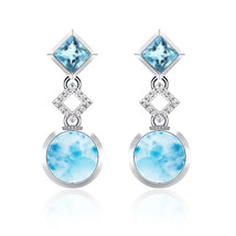 925 Sterling Silver 9 MM Larimar Designer Dangle Handmade Wedding Stud E... - $71.72