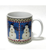 Debbie Mumm Snowman Pattern Coffee Mug Winter Cardinals Birds Sakura 12 oz - $7.50