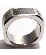 SSR1866 Black Carbon Fiber Chunky Stainless Steel Ring  - $14.99