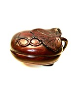Watermelon Trinket Box Rare Wooden Hand Carved Container 3 inches Long - €26,31 EUR