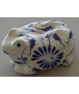 Wonderful Blue & White Porcelain Frog Figural Trinket Box - VGC - SUPER ... - $24.74