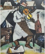 Marc Chagall The Fiddler - De Violist Framed Judaica Art Print - $130.89