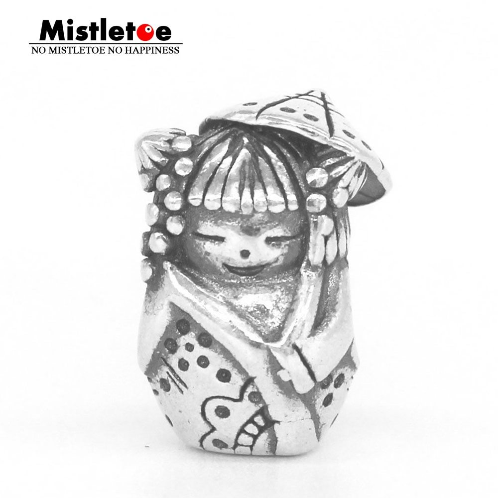Etoe genuine 925 sterling silver umbrella doll charm bead fit ohm troll and pan bracelet jewelry