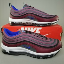 Nike Air Max 97 Athletic Shoes Size Mens Running Sneakers Maroon Blue Gray - $159.99