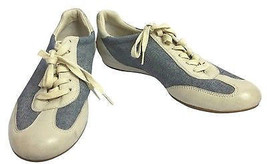 COLE HAAN NIKE AIR CREME LEATHER AND BLUE DENIM LACE UP FLAT SHOES 6 M - $36.15