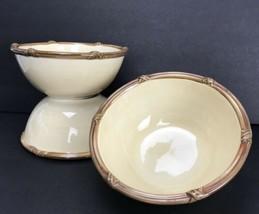 "Clay Art Zanizabar Khaki Desert Fruit Bowl Bamboo Rim 7"" Lot Of 4 Cream ... - $44.54"