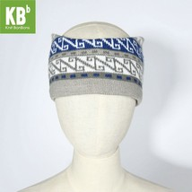 Grey Blue N-Design Knitted Headband for Fall & Winter - $13.09