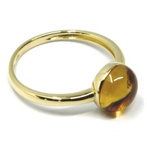 SOLID 18K YELLOW GOLD RING, CABOCHON CENTRAL CITRINE, DIAMETER 8mm image 2