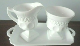 Vintage Indiana  Kings Crown Milk Glass Sugar Bowl & Creamer Set with Tray - $12.86