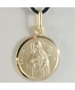 SOLID 18K YELLOW GOLD HOLY ST SAINT SANTA LUCIA LUCY ROUND MEDAL MADE IN... - $121.60+
