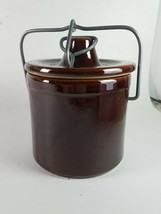 Kitchen Brown Canister With Wire Lock Lid Pottery - $19.39