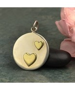 Two-Heart Disc Charm Sterling Silver Bronze 21x15mm, Pkg Of 1Pc (13206)/1 - $16.88
