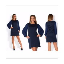 Spring Lantern Sleeve Pure Color Round Collar Dress Fat MM Big Size Woma... - $24.29