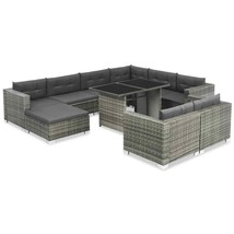 vidaXL Outdoor Sofa Set 28 Pieces Poly Rattan Wicker Lounge Garden Furni... - $821.99