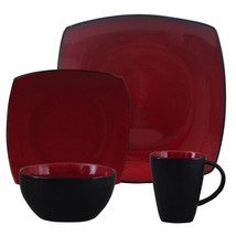 Soho Lounge 16 pc Dinnerware, Red Square Shape (Service for 4) - $93.13