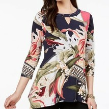 JM Collection Top Grommet Trim Keyhole Blouse Tunic Tropical Floral Wome... - $53.96