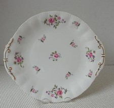"Vint. FRAGRANCE Paragon Bone China 10 3/8"" HANDLED CAKE PLATE Pink Roses... - $33.94"