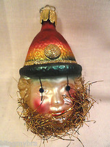 Figural Glass Boy In Cap Head Clown Tinsel Christmas Tree Ornament Germany - $17.49