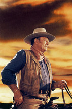 John Wayne in Chisum iconic in silhoutte against sunset on horse 18x24 Poster - $23.99