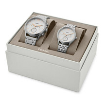 Fossil Couple Gift Set His/Her Fenmore Stainless Steel Silver Watch BQ24... - $159.59
