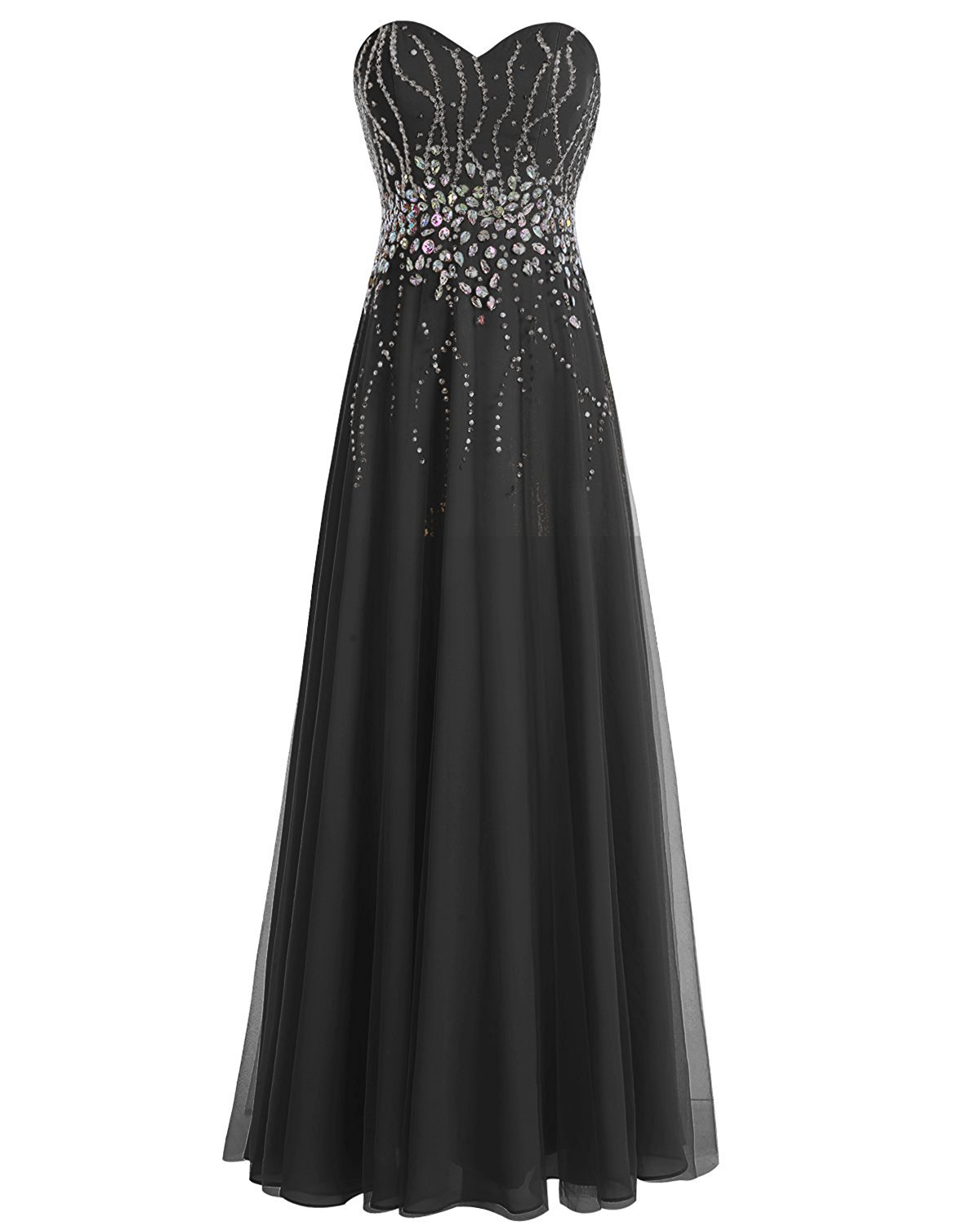 Primary image for Black Long Tulle Sweetheart Prom Dresses Beaded Bridesmaid Gown Evening Dress