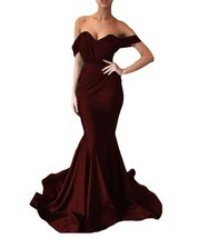 Women's Off the Shoulder Mermaid Evening Dresses Long Spandex Formal Party Gown image 2