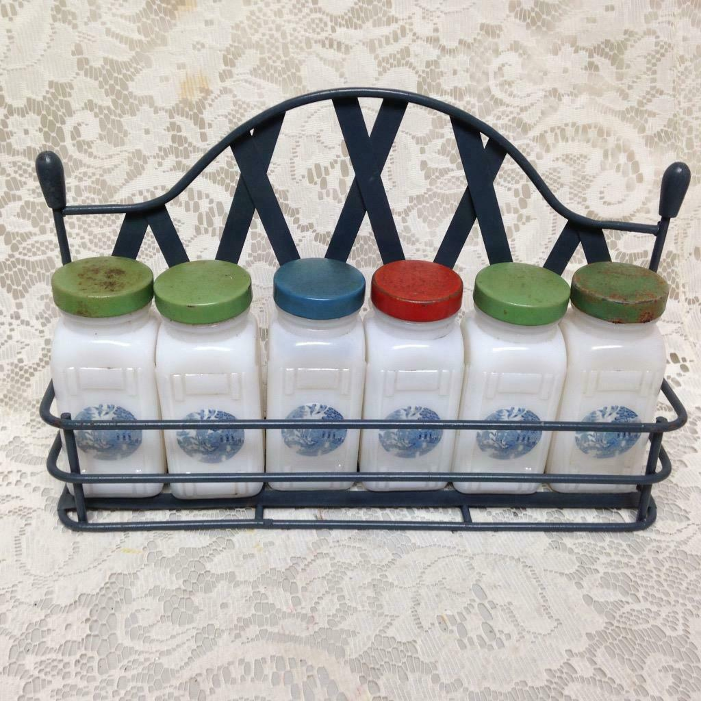 Primary image for Vintage, 6-pc Blue Willow Milk Glass, Spice Jar Set with Metal Rack