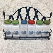 Vintage, 6-pc Blue Willow Milk Glass, Spice Jar Set with Metal Rack - $3.409,69 MXN