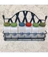 Vintage, 6-pc Blue Willow Milk Glass, Spice Jar Set with Metal Rack - £108.97 GBP