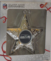 "Seattle Seahawks Star Ornament Silver 4.5"" High Christmas NFL Football New - $16.82"