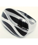 SSR1972 Unisex Black Abstract Chunky Stainless ... - $14.99