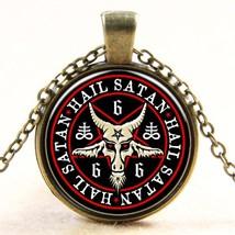 Vintage Bronze Pentagram Necklace Pendant Red Goat Head Pendant Baphomet... - $5.45