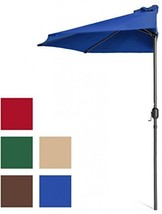 Best Choice Products 9ft Steel Half Patio Umbrella w/ Crank - Blue - $80.55 CAD