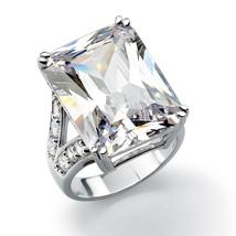 27.10 TCW Emerald-Cut Cubic Zirconia Platinum-Plated Ring - $46.82