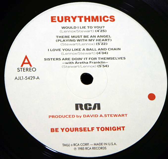 "Eurythmics  ""Be Yourself Tonight""  RCA Victor Records AJL1-5429   LP"