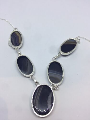 Vintage Blue Green Genuine Black Agate 925 Sterling Silver Chain Necklace Choker