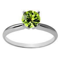 Women's Unique 14K WG 6mm Round Peridot Solitaire Ring All Sizes - $143.89+
