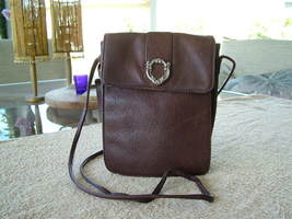 Pre-Loved Fossil Brown Pebbled Leather with Silver-tone Accent Crossbody Purse - $28.00