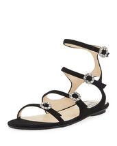 Jimmy Choo Naia Suede Flat Sandal with Crystal Buckles, Black 39.5 MSRP:... - $445.50