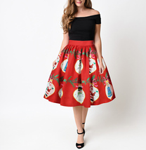 RED Christmas Print  A-line Swing Skirt Women High Waist Knee Length Flare Skirt