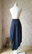 NAVY BLUE Linen Harem Pants Women Boho Pants Trousers Loose Wide Leg Pants NWT