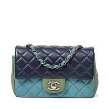 AUTHENTIC CHANEL TRI COLOR QUILTED LAMBSKIN LARGE MINI RECTANGULAR FLAP BAG  image 1