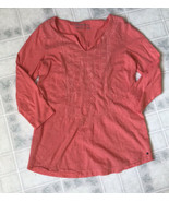 Ladies Eddie bauer Outdoor Small Orange Lace Front 3/4 Sleeve Tee Shirt - $18.51